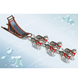 Isometric sled dogs in Front View on Ice vector image vector image
