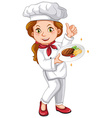 Female chef holding signature dish vector image