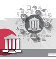 Paper and hand drawn university emblem with icons vector image