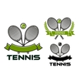 Tennis game emblems with rackets and balls vector image
