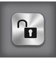 Unlock icon - metal app button vector image