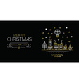 Gold Christmas and New Year line art city banner vector image