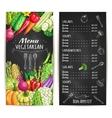 Vegetarian restaurant menu chalkboard with veggies vector image