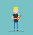 young character holding a jack in the box flat vector image vector image