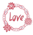 Love greeting card with floral round frame and vector image