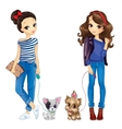 Two Cute Girls Walking With Dogs vector image