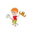 boy riding stick horse and waving cowboy hat vector image