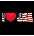 Caption I Love USA flag stylized color and purple vector image