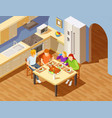 family dinner in kitchen isometric image vector image