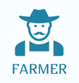 Icon or sign of farmer in flat style vector image
