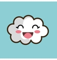 kawaii cloud smiling eyes design vector image