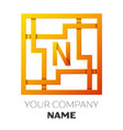 letter n symbol in the colorful square maze vector image