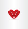 red letter v heart valentine symbol vector image