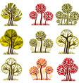 Set of stylized trees with green and orange leaves vector image