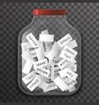 Tip advice offer idea empty glass pot jar sign vector image