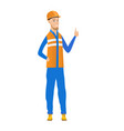 young caucasian builder giving thumb up vector image