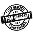 1 year warranty round grunge black stamp vector image