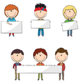 Smart modern students with banners vector image