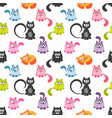 seamless pattern with cute colorful cats vector image vector image