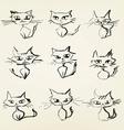 hand drawn grumpy cats icons vector image vector image