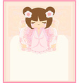 Kokeshi doll on the pink background with floral vector image