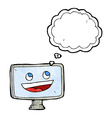 cartoon computer screen with thought bubble vector image