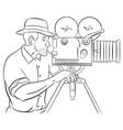 cameraman with vintage camera vector image vector image