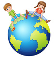 Boy and girl sitting on the big world vector image