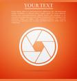 camera shutter icon on orange background vector image