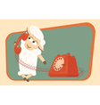 Card with calling baby lamb vector image