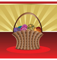 Easter card with basket of eggs vector image