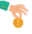 hand coin money donation vector image