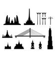 silhouette landmark buildings in bangkok vector image