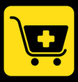 yellow black information sign shopping cart plus vector image
