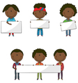 African-American students with empty banners vector image vector image