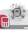 Paper and hand drawn calculator emblem with icons vector image vector image