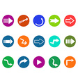 arrow sign circle button icons set vector image