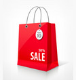 Shopping paper red bag vector image vector image