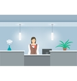 Woman receptionist in uniform stands at reception vector image