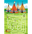 Game template with teepee and indians vector image