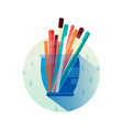 glass with pencils in flat style icon vector image