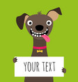 happy dog and text frame card vector image