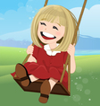 Jovial girl on a swing with happy face vector image