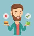 man choosing between hamburger and cupcake vector image