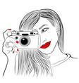monochrome beautiful girl vector image