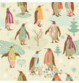 penguins Christmas pattern vector image