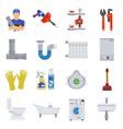 Plumbing Service Flat Icons Set vector image