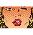 Vampire girl lip kiss vector image