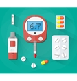 Blood Glucose Test strip and pills Diabetes set vector image