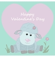 Postcard happy Valentines day Cute sheep vector image